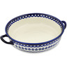13-inch Stoneware Round Baker with Handles - Polmedia Polish Pottery H9413B