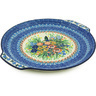 13-inch Stoneware Round Platter with Handles - Polmedia Polish Pottery H2492H