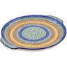 13-inch Stoneware Round Platter with Handles - Polmedia Polish Pottery H3830A