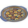 13-inch Stoneware Round Platter with Handles - Polmedia Polish Pottery H3832A