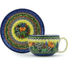 13 oz Stoneware Cup with Saucer - Polmedia Polish Pottery H1505H