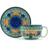 13 oz Stoneware Cup with Saucer - Polmedia Polish Pottery H4550H