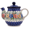 13 oz Stoneware Tea or Coffee Pot - Polmedia Polish Pottery H5582L