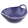14-inch Stoneware Bowl with Handles - Polmedia Polish Pottery H5937I