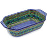 14-inch Stoneware Rectangular Baker with Handles - Polmedia Polish Pottery H5679B