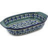 14-inch Stoneware Rectangular Baker with Handles - Polmedia Polish Pottery H8560B