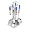 15-inch Stoneware Hanging Utensil set of Six - Polmedia Polish Pottery H4867J