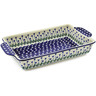 15-inch Stoneware Rectangular Baker with Handles - Polmedia Polish Pottery H5937J
