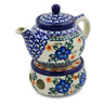 15 oz Stoneware Tea or Coffe Pot with Heater - Polmedia Polish Pottery H1161K