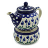 15 oz Stoneware Tea or Coffe Pot with Heater - Polmedia Polish Pottery H8655F