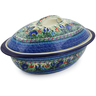 16-inch Stoneware Baker with Cover - Polmedia Polish Pottery H8222J