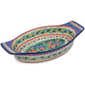 18-inch Stoneware Oval Baker with Handles - Polmedia Polish Pottery H2260E