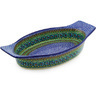 18-inch Stoneware Oval Baker with Handles - Polmedia Polish Pottery H5957E
