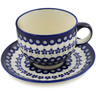18 oz Stoneware Cup with Saucer - Polmedia Polish Pottery H8911B