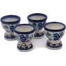 2-inch Stoneware Set of 4 Egg Holders - Polmedia Polish Pottery H0611L