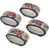 2-inch Stoneware Set of 4 Napkin Rings - Polmedia Polish Pottery H4623L