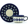 2 oz Stoneware Espresso Cup with Saucer - Polmedia Polish Pottery H2965H