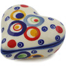 3-inch Stoneware Heart Shaped Jar - Polmedia Polish Pottery H2743K