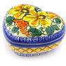 3-inch Stoneware Heart Shaped Jar - Polmedia Polish Pottery H5463F