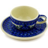 3-inch Stoneware Mini Cup and Saucer - Polmedia Polish Pottery H0656D