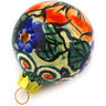 3-inch Stoneware Ornament Christmas Ball - Polmedia Polish Pottery H0911E