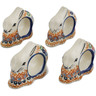 3-inch Stoneware Set of 4 Napkin Rings - Polmedia Polish Pottery H4619L