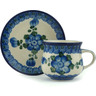 3 oz Stoneware Espresso Cup with Saucer - Polmedia Polish Pottery H9223A