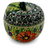 4-inch Stoneware Apple Shaped Jar - Polmedia Polish Pottery H0973E