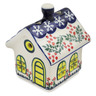 4-inch Stoneware House Shaped Candle Holder - Polmedia Polish Pottery H3501L
