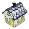 4-inch Stoneware House Shaped Candle Holder - Polmedia Polish Pottery H3502L