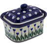 4-inch Stoneware Jar with Lid - Polmedia Polish Pottery H1964K