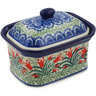 4-inch Stoneware Jar with Lid - Polmedia Polish Pottery H1966K
