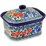 4-inch Stoneware Jar with Lid - Polmedia Polish Pottery H7155A