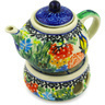 4-inch Stoneware Mini Teapot with Heater - Polmedia Polish Pottery H5844D