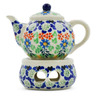 4-inch Stoneware Mini Teapot with Heater - Polmedia Polish Pottery H5850D