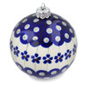 4-inch Stoneware Ornament Christmas Ball - Polmedia Polish Pottery H1412L