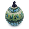 4-inch Stoneware Ornament Christmas Ball - Polmedia Polish Pottery H4889G