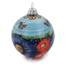 4-inch Stoneware Ornament Christmas Ball - Polmedia Polish Pottery H6055K