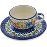 4 oz Stoneware Cup with Saucer - Polmedia Polish Pottery H5538L