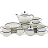 40 oz Stoneware Dessert Set for 6 with Heater - Polmedia Polish Pottery H8539K
