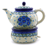40 oz Stoneware Tea or Coffe Pot with Heater - Polmedia Polish Pottery H0785I