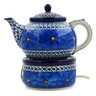 40 oz Stoneware Tea or Coffe Pot with Heater - Polmedia Polish Pottery H2843C