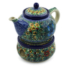 40 oz Stoneware Tea or Coffe Pot with Heater - Polmedia Polish Pottery H7662C