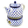 40 oz Stoneware Tea or Coffe Pot with Heater - Polmedia Polish Pottery H8134H