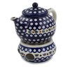 47 oz Stoneware Tea or Coffe Pot with Heater - Polmedia Polish Pottery H0774L