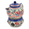 47 oz Stoneware Tea or Coffe Pot with Heater - Polmedia Polish Pottery H0777L