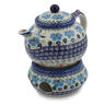 47 oz Stoneware Tea or Coffe Pot with Heater - Polmedia Polish Pottery H0779L