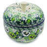 5-inch Stoneware Apple Shaped Jar - Polmedia Polish Pottery H5639J
