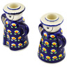 5-inch Stoneware Candle Holder Set - Polmedia Polish Pottery H5348C