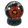 5-inch Stoneware Globe Shaped Candle Holder - Polmedia Polish Pottery H0903E